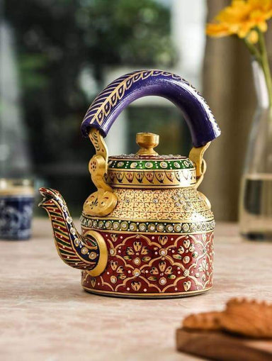 Painted Teapots KAUSHALAM HAND PAINTED TEA KETTLE: GOLD & RED COLOUR DIAMOND