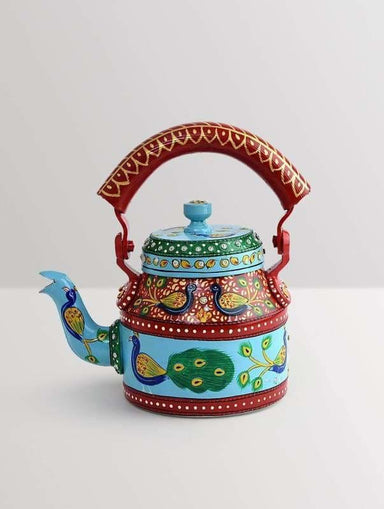 Painted Teapots KAUSHALAM HAND PAINTED TEA KETTLE: NEW PEACOCK DANCE