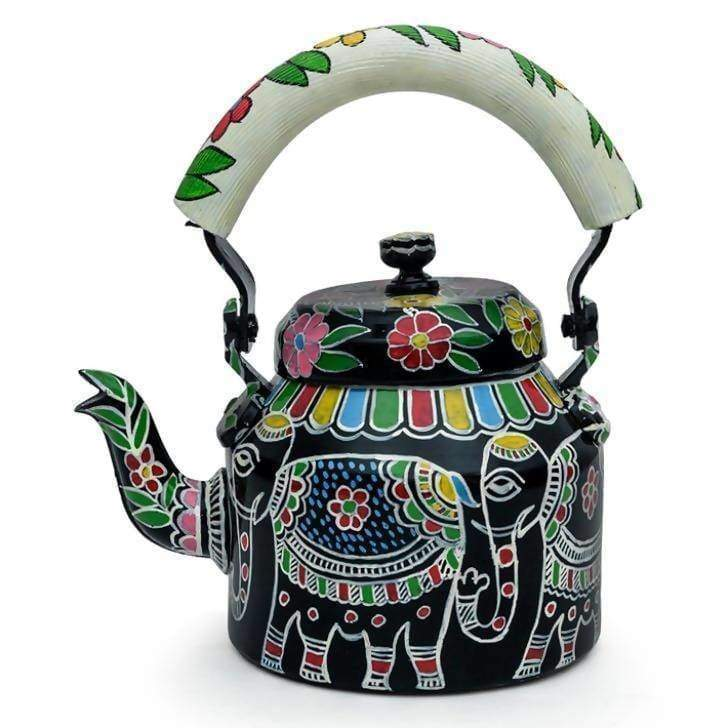 KAUSHALAM HAND PAINTED TEAKETTLE (BIG) WHITE ELEPHANT - Painted Teapots