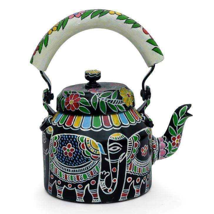 KAUSHALAM HAND PAINTED TEAKETTLE (BIG) WHITE ELEPHANT - Title - Painted Teapots