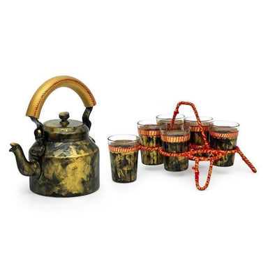 Kitchen & Dining Kaushalam Tea Kettle with six glasses and stand: Antiqua Dark Gold