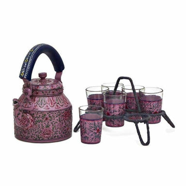 Kitchen & Dining Kaushalam Tea Kettle with six glasses and stand: Pink Passion