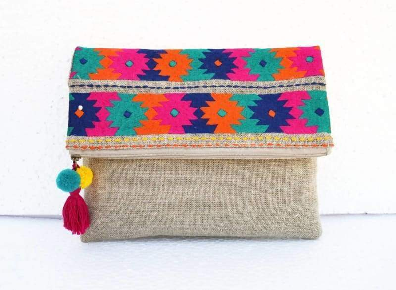 Kilim Moroccan Pattern foldover Clutch in Pure Linen - Bags
