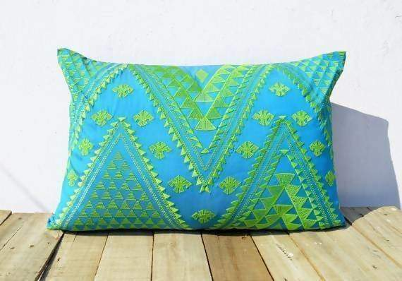 Turquoise and Green KIlim Pattern Embroidered Pillow Cover - Pillows & Cushions
