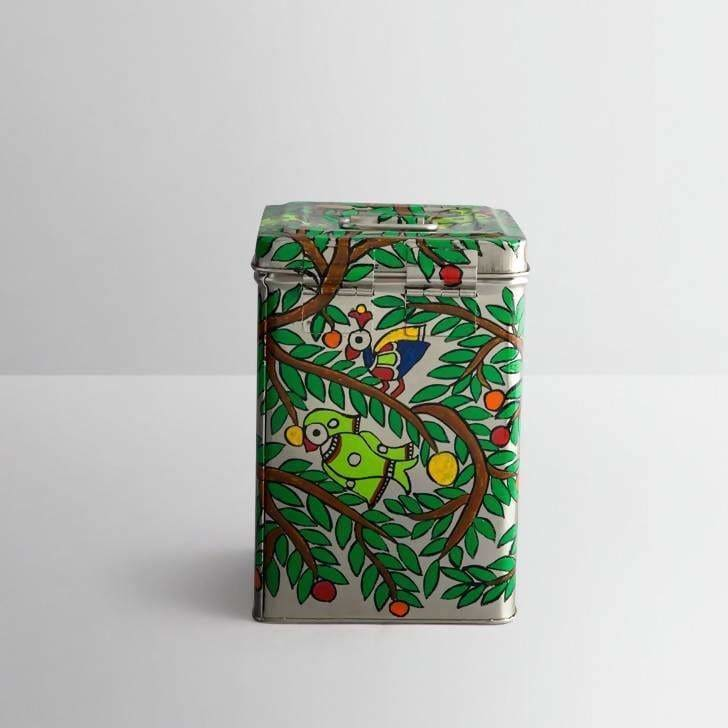 Parrot Design Green Hand Painted Canister in Stainless Steel - Kitchen Decor