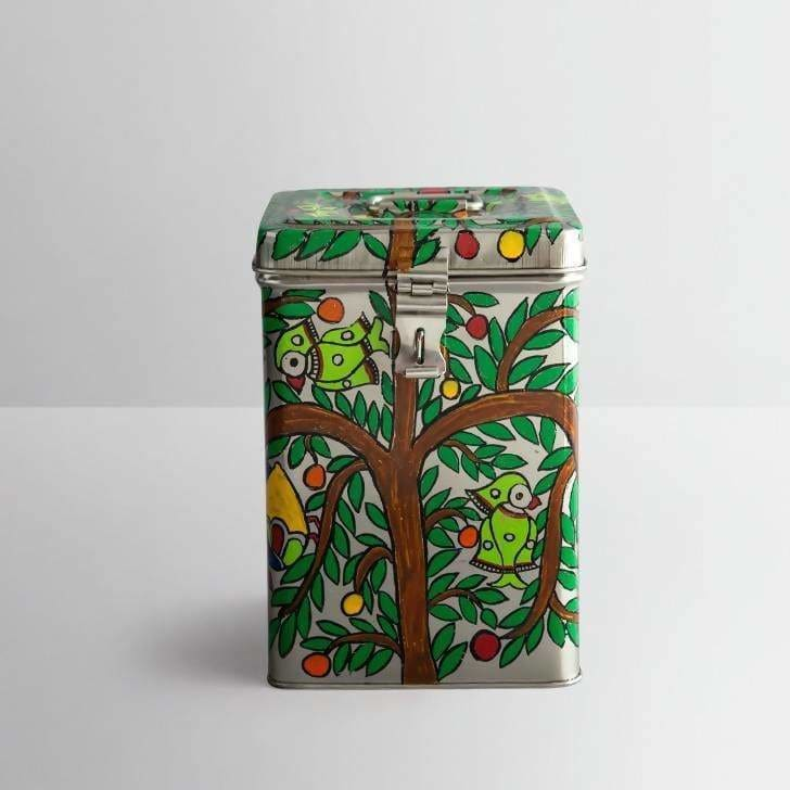 Parrot Design Green Hand Painted Canister in Stainless Steel - Title - Kitchen Decor