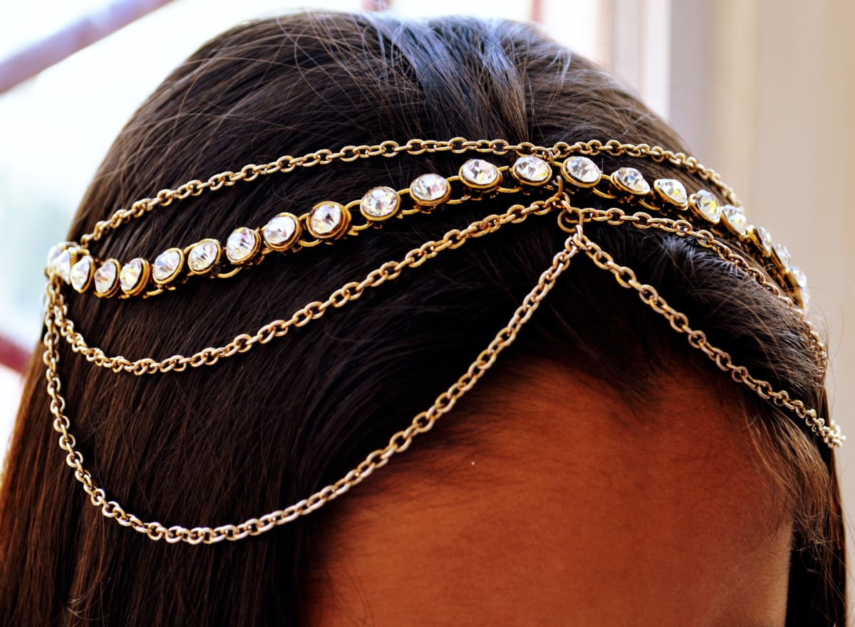 hair accessories Kundan Matha Patti Indian Tikka Bridal Headpiece for women - by Pretty Ponytails