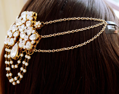 hair accessories Kundan and Pearl Indian Matha Patti Rajasthani Flower Tikka Headpiece - by Pretty Ponytails