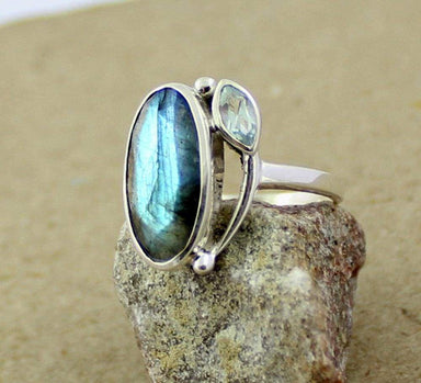 Rings Labradorite Blue Topaz designer ring 925 sterling silver jewelry