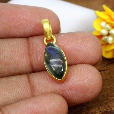 Labradorite & Crystal Doublet Brass Gold Plated Marquise Pendant