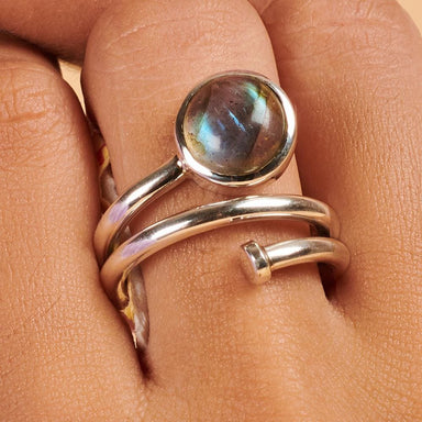 Rings Labradorite Gemstone 925 Sterling Silver Ring Fashion Handmade Jewelry Gift - by Adorable Craft