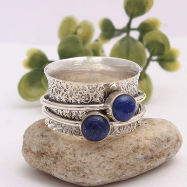 labradorite/lapis lazuli 925 Sterling Solid Silver Spinner Ring Thumb Anxiety Worry Fidget Meditation Jewelry - 4 / Lapis by Manjari Jewels