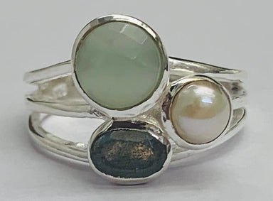 Rings Labradorite Oval & Round Pearl Aqua Onyx 925 Sterling Silver Ring High Polish - by TJ GEMS