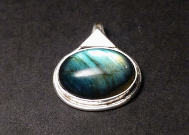 Labradorite Pendant Sterling Silver Natural Gemstone Stone Blue Fire 925 Boho Oval Shape