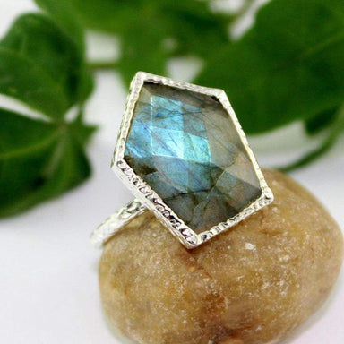 Rings Labradorite Ring Checker cut Fire Gemstone 925 Silver