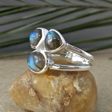 Rings fire labradorite ring cocktail silver three gemstone