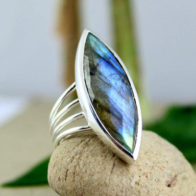 Rings Labradorite Ring Gemstone plain setting ring marquise