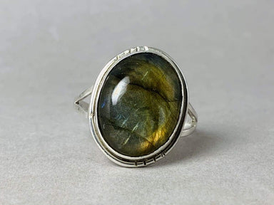 Rings Labradorite Ring Sterling Silver February and March Birthstone Handmade Gift For Her Woman Boho Gemstone