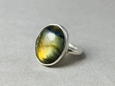 Labradorite Ring Sterling Silver Statement Bohemian Gift Simple Oval Birthstone