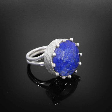 Rings Lapis Lazuli 925 Sterling Silver Hammered Design Bezel Set Ring Jewelry