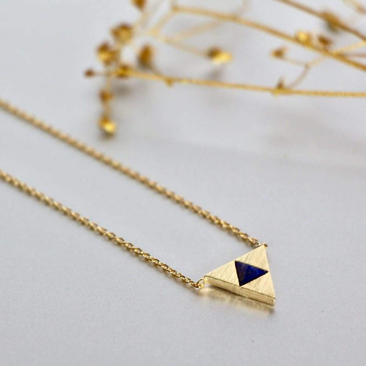 Lapis Lazuli Marble Stone Ring And Necklace Set Egyptian Jewelry Gold Geometrical Dipped Gifts For Her SR55/SN113