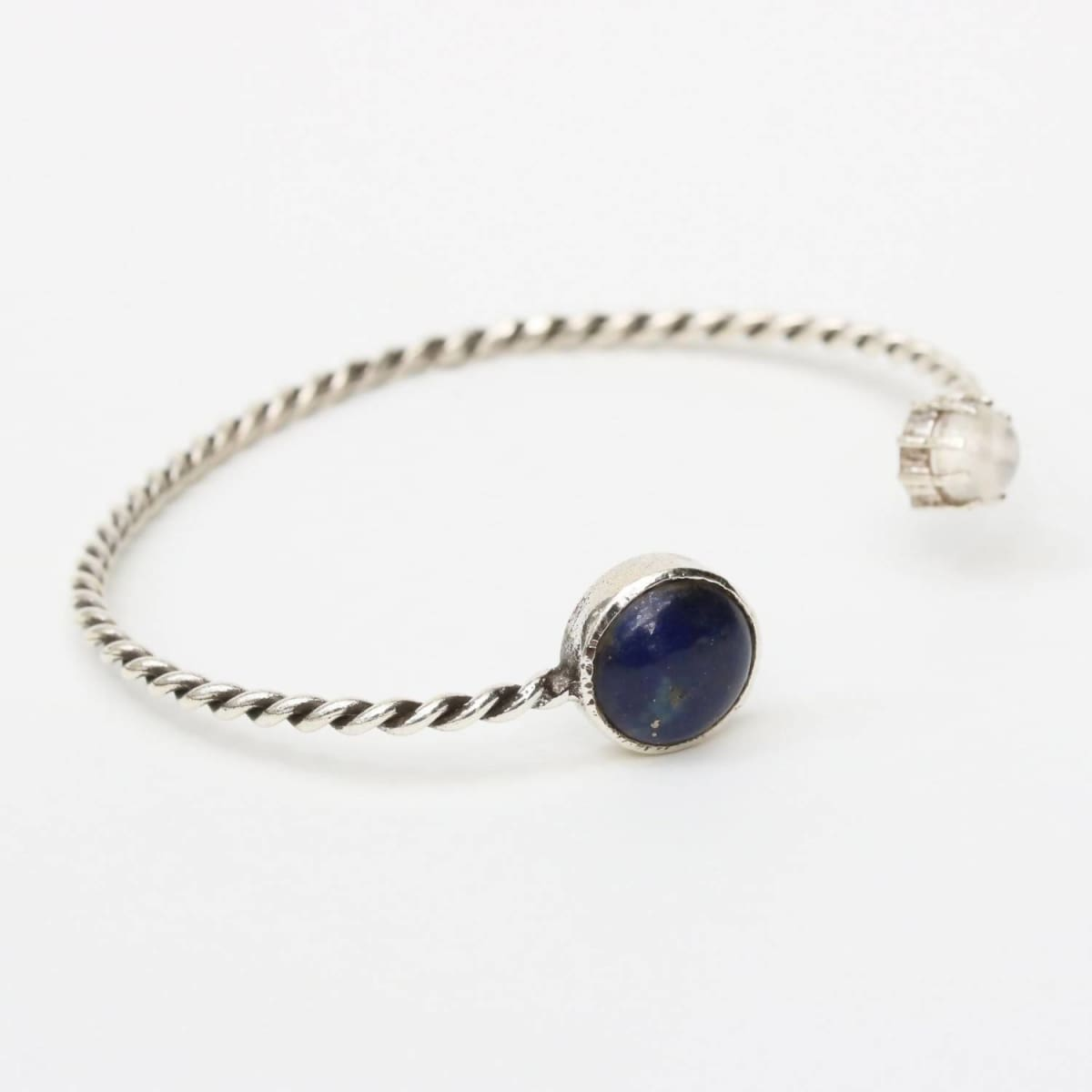 Bracelets Lapis lazuli and moonstone gemstones cuff bracelet with sterling silver twist band design/TP