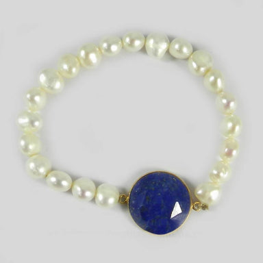 Bracelets Lapis Lazuli and Pearl Smooth Beads Silver Stretchable Bracelet Jewelry