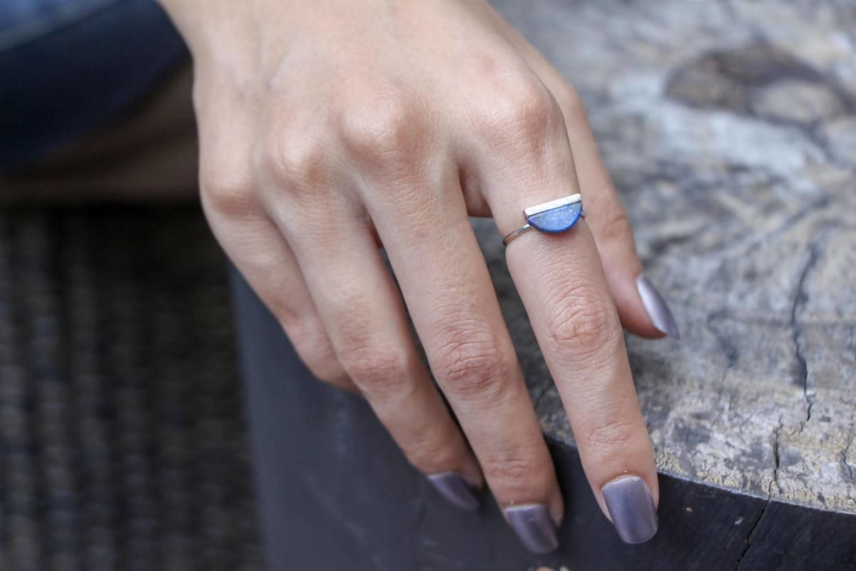 rings Lapis Lazuli Rhodium Ring Half Moon Stone,Ring/Toe Geometric Jewellery Gypsy Bohemian Casual Jewelry MR30 Adjustable - by Silver Soul