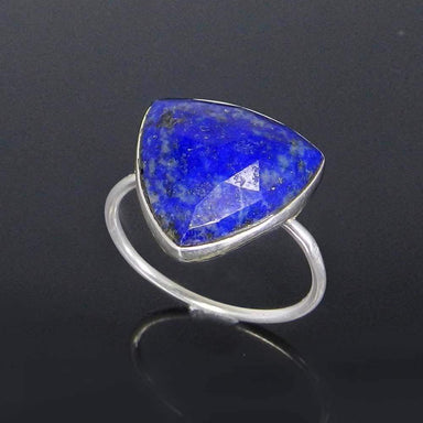 Rings Lapis Lazuli Trillion Gemstone Silver Bezel Ring - Blue Stone - Handmade Jewelry