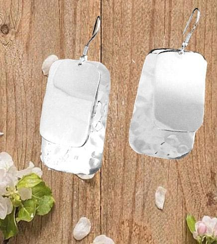 Earrings Large Silverplated Double Rectangle - by Artesanas Campesinas