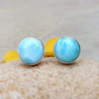 Earrings Larimar Bezel Stud Earring Natural 925 Silver Gemstone Studs Jewelry