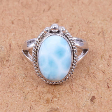 Rings Larimar Ring Blue Natural Gemstone 925 Sterling Silver Cabochon Best Gift For Her and Him - Title by Rajtarang