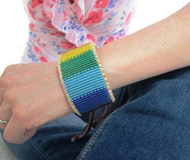 Bracelets LBGTQ Rainbow Pride Beaded Bracelet on Deer Hide Leather
