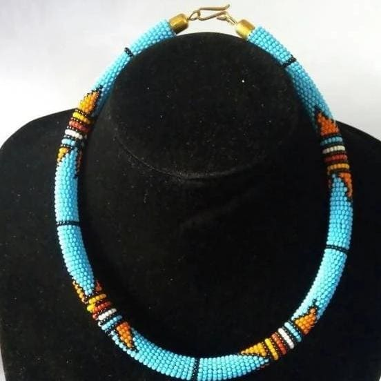 Necklaces Light Blue Handmade Maasai Necklace in Beads - by Naruki Crafts