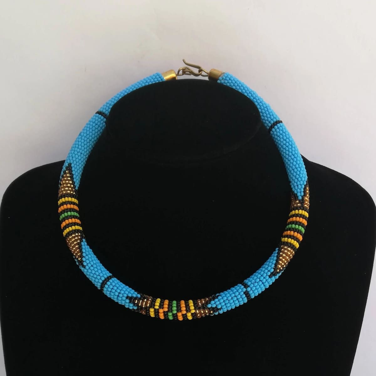 Necklaces Light Blue Maasai Beaded Necklace - by Naruki Crafts