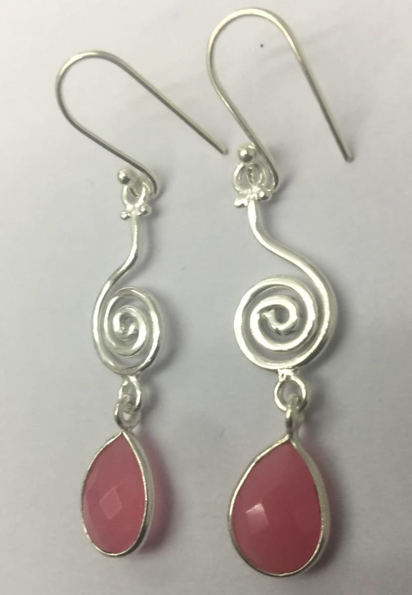 Earrings Light PInk Quartz Stone Facited Briollet Sterling Silver Earring - by TJ GEMS
