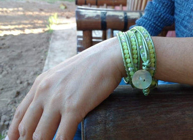 Bracelets Lime Green Cats Eyes Wrap Bracelet