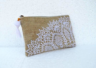 Linen embroidered pouch crochet pattern 5X9 inches - Bags
