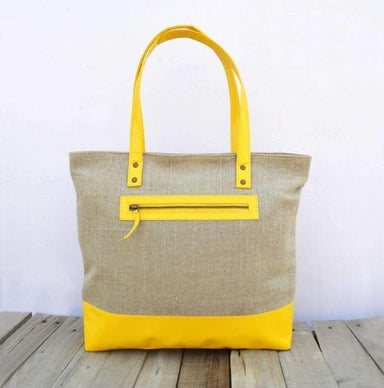 Linen and faux leather tote bag natural with yellow classic everyday bag. - Bags