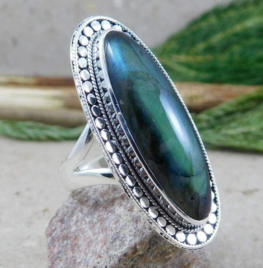 Rings Long oval Labradorite Ring,925 Sterling Silver Ring Handmade Jewelry