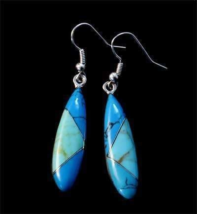 Earrings Long Oval Mosaic Turqouise FAST FREE SHIPPING! ED-2-099