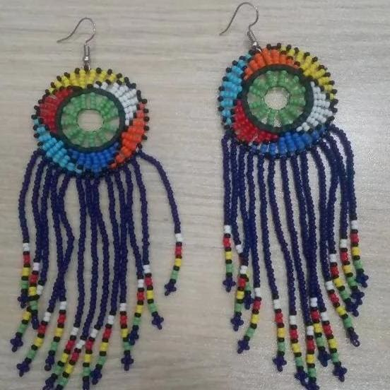 Earrings Maasai Beaded Multicolored Dangle - by Naruki Crafts