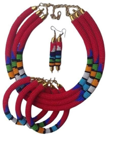 Necklace Maasai beaded necklace,Maasai jewelry set,beaded necklace - by NANGIKIS