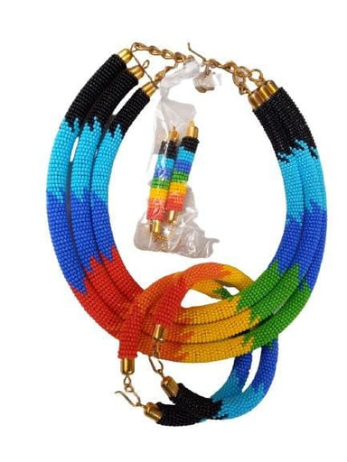 Necklace Maasai beaded rainbow necklace Jewelry Beaded - by NANGIKIS