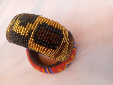 Bracelet Maasai Leather Beaded - by NANGIKIS