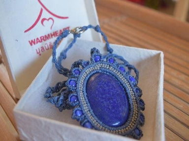 Macrame Necklace Lapiz Lazuli - by Warm Heart Worldwide