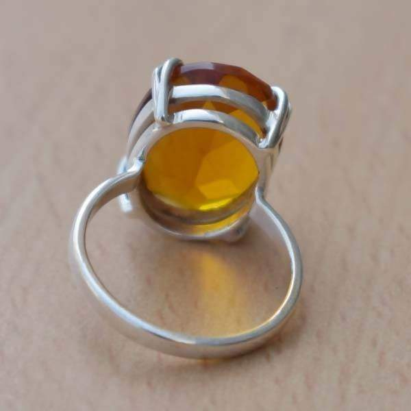 Rings Madeira Citrine Ring,Oval Faceted Ring 925 Sterling Silver Ring,November Birthstone Ring,Gift for her Orange
