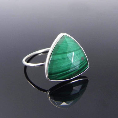 Rings Malachite Trillion Gemstone Silver Bezel Ring - Green Stone - Handmade Jewelry