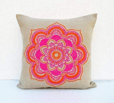 Mandala linen pillow cover embroidered pillow case tribal indian craft pillow ethnic 16X16 - Pillows & Cushions