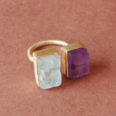 March Birthstone Raw Aquamarine And Amethyst Gemstone Dual Stone Stacking Ring - by Bhagat Jewels